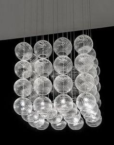 Vistosi Oto glass pendant lights grouped to form a Cube