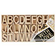 Buchstaben in Box 78Stck Holz ver.Farben