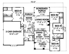 Cottage Style House Plan - 4 Beds 2.00 Baths 1997 Sq/Ft Plan #513-2048 Floor Plan - Main Floor Plan - Houseplans.com Cottage Style House Plans, Craftsman House Plans, Best House Plans, House Floor Plans, Cottage Design, House Design, Kitchen Cabinets Elevation, One Level Homes, Electrical Layout