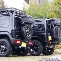 Both demo-cars are characterized by our original iron parts including a TRAIL-RACK. Jeep Suzuki, Suzuki Jimny Off Road, New Suzuki Jimny, Dead Space, Jimny 4x4, Samurai, Jimny Sierra, Kei Car, Best 4x4