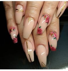Rose  print nails  FOLLOW Chanel Monroe