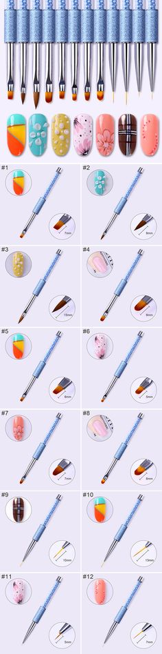 $2.99 1 Pc Acrylic Painting Pen UV Gel Drawing Brush Liner Blue Rhinestone Handle Manicure Nail Art Tool - BornPrettyStore.com