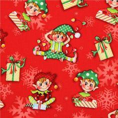 red Christas elf Christmas fabric Naughty Or Nice