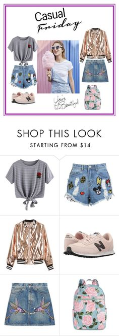 """Outfit Casual y Juvenil"" by mariaeugenia-4 ❤ liked on Polyvore featuring WithChic, Disney Stars Studios, Sans Souci, New Balance Classics, Gucci and ban.do"
