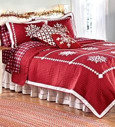 Crystal Snowflake Cotton Quilt, Shams And Pillow from Plow and Hearth.  Perfect for Christmas guest room.