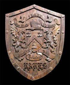 Custom Double Dragon Family Shield Wood Carving with Dragons by StatueSculptures.com