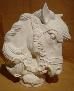 Large Carousel Horse Bust Ceramic Bisque Ready to Paint