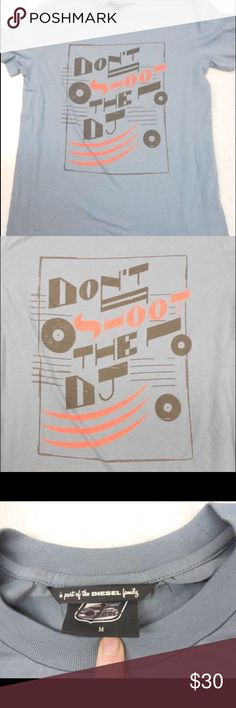 "DIESEL MENS DON'T SHOOT THE DJ TEE T-SHIRT M DIESEL Mens Slate Blue Graphic Screen Print Don't Shoot The Dj Tee T-Shirt Size M  Color: Blue  Style: Crewneck  Sleeve: Short Sleeve  Length 26""  Chest 38""  Material: 100% Cotton Diesel Shirts Tees - Short Sleeve"