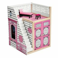 """Fashion Dollhouse Garage by KidKraft. $55.12. How do you make our Fashion Dollhouse even more special? By adding our upscale dollhouse garage! Our sturdy wood doll garage not only holds Barbie(R) cars and other doll vehicles, but features a rooftop patio and outdoor staircase. Patio furniture included; doll car is not. Assembly required. For ages 3 and up. A OneStepAhead Exclusive! High-quality, MDF wood 20 1/4""""H x 15""""W x 15 1/4""""D"""