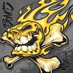 Badass Drawings, Cool Art Drawings, Skull Drawings, Skull Rose Tattoos, Body Art Tattoos, Japanese Tattoo Symbols, Japanese Tattoos, Batman Drawing, Flame Art