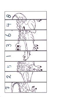puzzle de math 1à 8, crocodile getallenlijn 1-8 krokodil puzzel