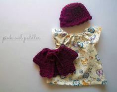 Boneca Clothes Set for de 12 polegadas 13 polegadas Doll - Waldorf ou Outras Baby Dolls - Vestido, suéter de lã casaco de lã e chapéu