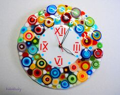Hey, I found this really awesome Etsy listing at https://www.etsy.com/listing/499116089/handmade-fused-glass-wall-clock-rainbow