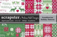 Scandinavian Holiday Patterns. Christmas Patterns. $8.00