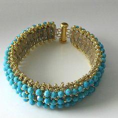 Manguito cristal turquesa frisado pulseira, cristais Swarovski e ouro, jóia frisada
