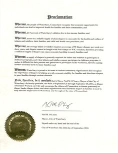 Waterbury, CT - Mayoral proclamation recognizing Diaper Need Awareness Week (Sept. 26 - Oct. 2, 2016) #DiaperNeed www.diaperneed.org