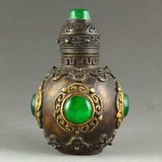 """3.15/"""" Collection Old Chinese Copper Inlay Turquoise Red coral beads Snuff bottle"""
