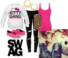 """Kitty Gang :)"" by memelovely ❤ liked on Polyvore"