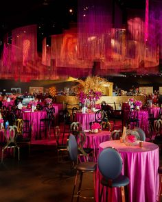 """Each corner of the room was designed with one of the four colors used. Red, coral, magenta and eggplant were the colors used in creating the """"Brilliance in Motion"""" theme. Red Coral, Magenta, The Emmys, Lounge Areas, Event Decor, Eggplant, Awards, Table Settings, Corner"""