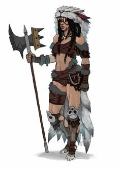 """char-portraits: """" Barbarian Lady by yuuva """" Barbarian Dnd, Barbarian Woman, Barbarian Queen, Character Portraits, Character Art, Character Design, Character Concept, Character Ideas, Tribal Warrior"""