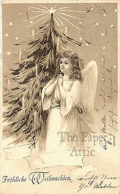 Angel with Christmas Tree Antique Vintage EARLY German Postcard