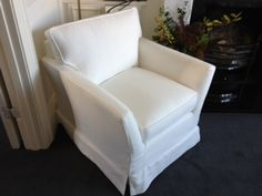 Traditional bespoke 'ladies chair' loose covered from Long Eaton. Measurements are 81 cm wide x 84 cm deep x 74 cm high. Bespoke Sofas, Traditional Sofa, Cushion Filling, Tub Chair, Sofa Bed, Recliner, Cribs, Accent Chairs, Armchair