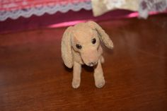 Old Doll Toy Dog Miniature For Fashion Doll Button Eyes Mohair Floppy Ears SOOOOOO CUTE! Dachshund
