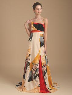 Wedding dress, if high quality wedding dress W by Watabe Wedding / kimono dress · silk · off white · slender