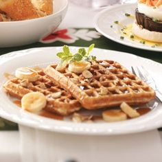 Banana Hazelnut Waffles Recipe -This recipe was created from my love of hazelnuts. My family loves these light, crisp waffles.—Karen Bomberger, Auburn, Alabama