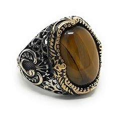 KAR 925K Stamped Sterling Silver Tiger Eye Men's Ring I1B (6.5)|Amazon.com