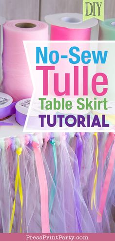 Make-Up easy NoSew Party Press Print ribbons skirt table Tulle Tutorial No-Sew Tulle Table Skirt Tutorial w. Baby Shower Purple, Purple Baby, Pink Purple, Pink Girl, Baby Shower Table, Baby Shower Themes, Shower Ideas, Cumpleaños Diy, Tulle Table Skirt