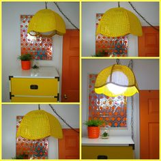 VTG 1970s Retro Sunny MOD Yellow Wicker Shade Swag Hanging Lamp & Glass…