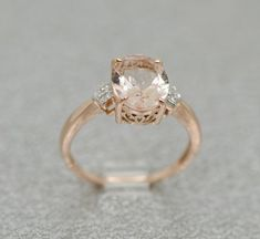 14k Rose Gold Diamond And Oval Morganite Ring by SparkleNJade