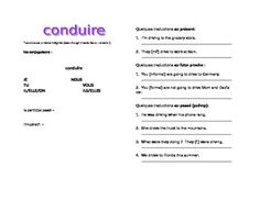 This is the handout I give to my students to introduce CONDUIRE in D'Accord 2, Unit 3B. It introduces the verb and gives translation practice in the présent, passé composé, futur proche and imparfait.