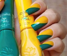 Unhas decoradas do Brasil - Unhas da Copa 2018 #unhas #unhasdacopa #unhasdobrasil #copa #copa2018 #brasil #brazil  #unhasdecoradas #esmaltes #nails #nailart #nailpolish #nailstagram #dailus #dailuscolor Pretty Nail Designs, Types Of Nails, Nail Bar, Nails On Fleek, Toe Nails, Pretty Nails, Nail Colors, Nails Design, Makeup Looks