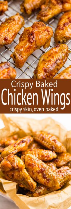 Crispy Baked Chicken Wings Perfect Crispy Baked Hot Wings Without The Fat Of Frying! Crispy Baked Chicken Wings - Crispy Baked Wings, how to get truly crispy wings in the oven, and how to get finger licking good hot wings with minimal work! Crispy Baked Chicken Wings, Baked Chicken Recipes, Recipe Chicken, Oven Baked Wings, Healthy Chicken, Easy Baked Chicken Wings, Crispy Oven Chicken Wings, Recipes For Chicken Wings, Crispy Wings Recipe