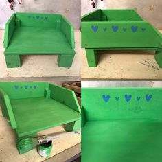 Pet bed made from upcycled materials: kiddie's chair, bed slats, reclaimed wood
