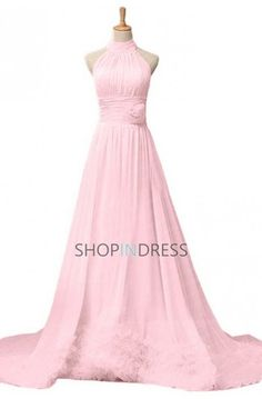 A-line High Neck Floor Length Chiffon Pink Prom Dress #pink #prom #formal