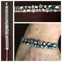 "Pretty!  Rhinestone & Bead Silvertn Bracelet Pretty!  Colorful Rhinestone & Bead Silvertone Bracelet .  8"" length x 5/16"" width (6-1/2"" plus 1-1/2"" extender chain).  Excellent condition. Jewelry Bracelets"