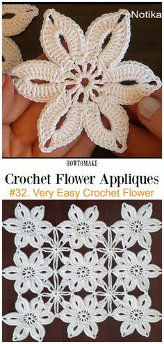 Very Easy Crochet Flower Free Crochet Pattern Video -Easy #Crochet #Flower Appliques Free Patterns