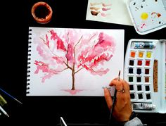 How to draw watercolor tree Watercolor Trees, Watercolor Drawing, Painting & Drawing, Simple Tree, London Photography, Art Tutorials, Art Drawings, Make It Yourself, Creative