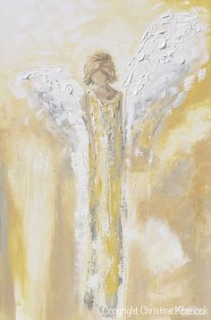 "Art Angel Painting ""Have a Little Faith"" - ORIGINAL art, abstract, angel painting depicting stunning guardian angel, angel wings, watching over, w/ a feeling of providing hope, light, inspiration & comfort. Contemporary painting, in shades of white, pale gold and soothing grey & textured layers of paint, it also contains a vintage, stylish feel, perfect for any home decor. Interior design, gallery fine art. Artist, Christine Krainock"