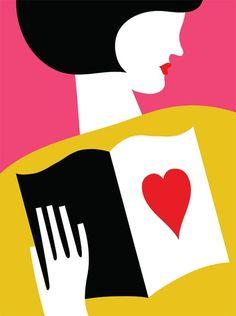 Love of reading / Enamorada de la lectura (ilustración de Olimpia Zagnoli)