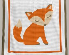 Crochet Pattern Baby Blanket - Fox (Row-by-Row) Crochet Afghans, Baby Afghans, Afghan Crochet Patterns, Baby Blanket Crochet, Knitting Patterns, Pattern Baby, Fox Pattern, Baby Patterns, Crochet Fox