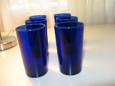 set of 6 LIBBEY Cobalt Blue glassware 8 oz drinking GLASSES, $25.00 -- SOLD