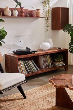 Large Furniture, Custom Furniture, Wooden Furniture, Furniture Decor, Long Wall Shelves, Leaning Bookshelf, Bookshelf Styling, Dresser Bed, Vinyl Record Storage