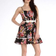Floral Button Dress with Belt