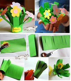 Flower bouquet craft for mama Kids Crafts, Toddler Crafts, Preschool Crafts, Easter Crafts, Projects For Kids, Bible Crafts, Spring Art, Spring Crafts, Holiday Crafts