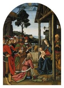 Pokłon trzech króli, Pietro Perugino, sławne obrazy, olej na desce
