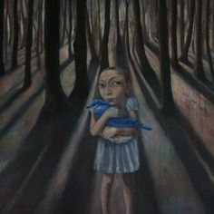 Blue - girl with bird - florest - Holding On - painting - Bobbie Russon